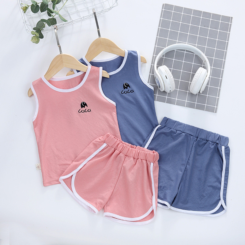 2020 New Hot Sale Children's Clothes Set Quality Tencel Cotton Kids Clothes Set Summer Sleeveless Girls Clothing Baby Boy  Suit