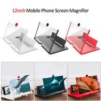 12 zoll 3D Handy Bildschirm Lupe HD Video Verstärker mit Faltbare Halter Lupe Smart Telefon Stehen Halterung