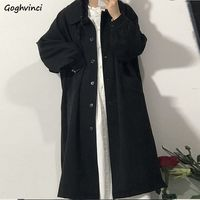 Miscele di lana Preppy invernali di donne moda coreana cappotti lunghi neri allentati giacche retrò monopetto Vintage manica lunga Chic
