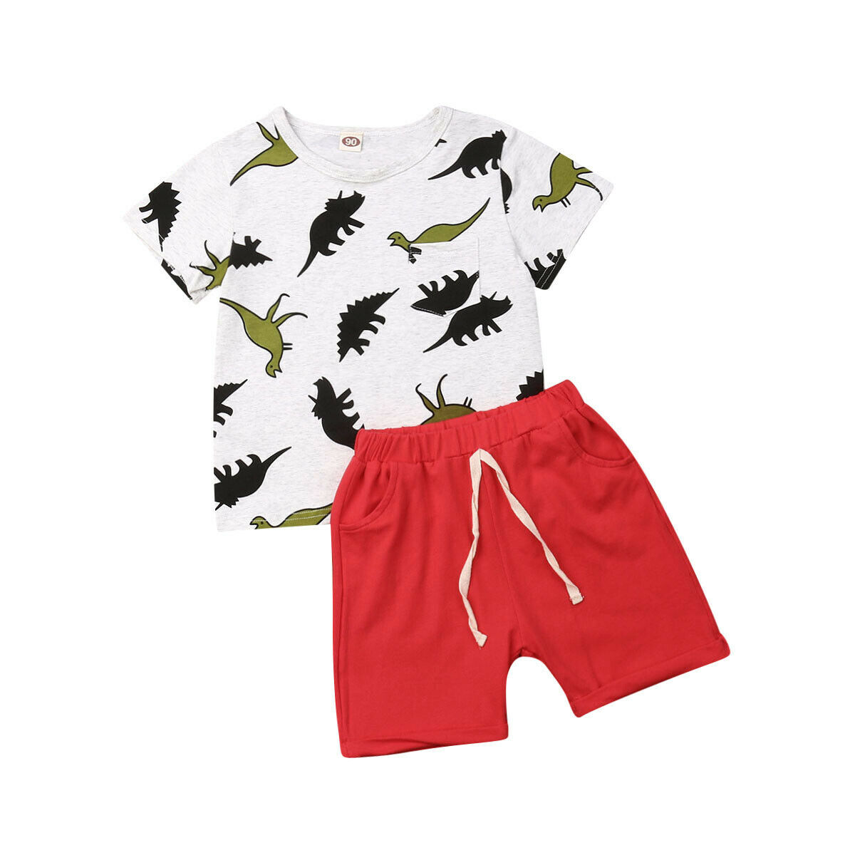 Boy Outfits T-Shirt Clothing Shorts Cotton-Sets Dinosaur Baby-Boy Kids Summer Casual