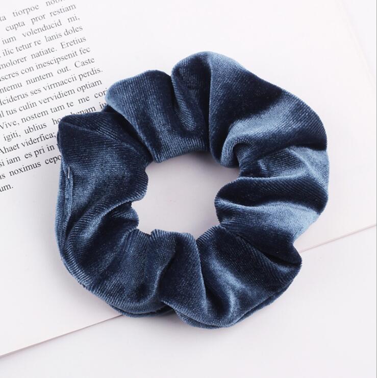 33 цвета, корейские Бархатные резинки для волос, эластичные резинки для волос, одноцветные женские головные уборы для девушек, заколки для волос с конским хвостом, аксессуары для волос - Цвет: Blue Gray