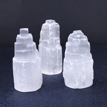 1PCS Selenite 100mm Decoration White Gypsum Skyscraper Castle Towers Gypsum Crystal Point 240-350g