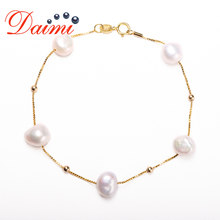 DMBFP162 8-9mm Pearl Bracelet 925 Sterling Silver Bracelet Floating Pearl Ball Chain Bracelet For Gift(China)