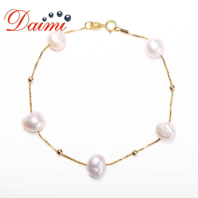 DMBFP162 pulsera de perlas de 8-9mm pulsera de plata de ley 925 pulsera de cadena de perlas flotantes para regalo