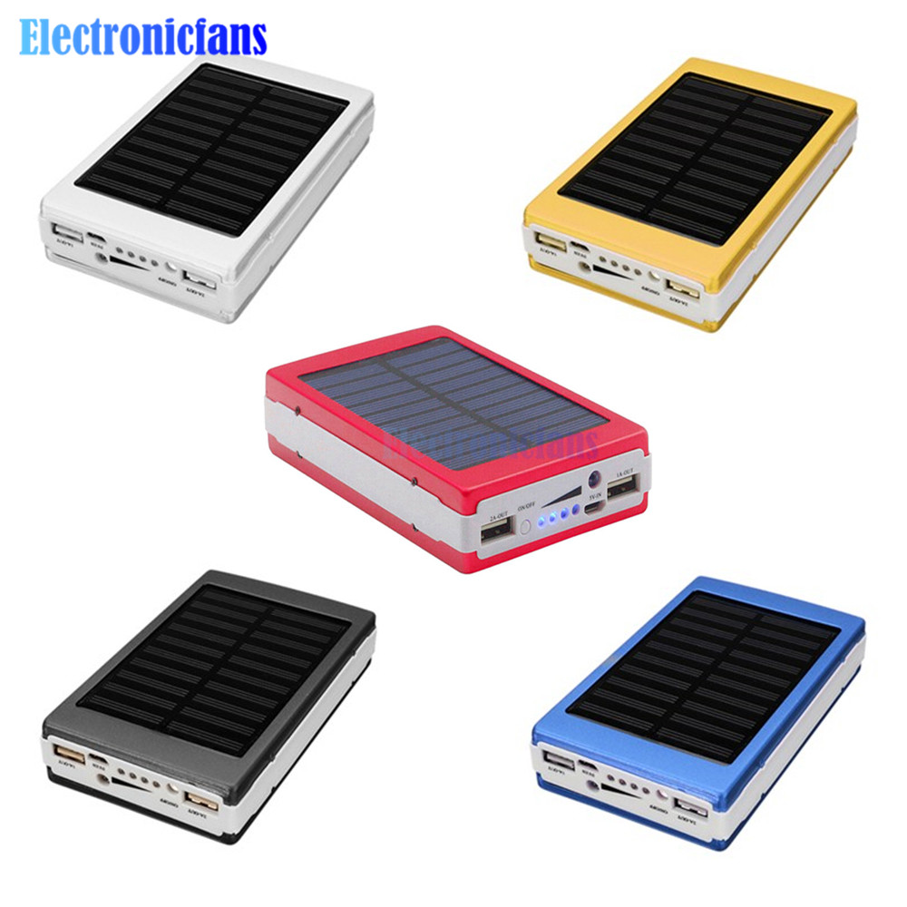 18650 Mobile Power Portable Solar Power Bank Charger DIY Box Materials LED Dual USB Charge Powerbank Cover Case for Phone
