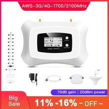 Repetidor inteligente potente de 1700mhz 3g 4g LTE, amplificador de señal móvil 3g 4g, kit de repetidor 3g 4g con Yagi