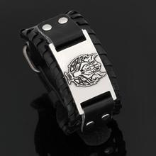 Norse Vikings Bracelet Slavic Wolf Head Leather Men Wristband Cuff  With Viking Runes Totem Metal Charms Bangle Jewelry