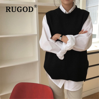 RUGOD New Women Sweater Vest O-neck Sleeveless Pullover Knitted Office Lady Temperament Casual Chic Coat  Winter Hot
