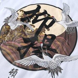 Image 5 - Sudadera con capucha de estilo Hip Hop para hombre, bordado con diseño de grullas, ropa de calle Harajuku, Sudadera con capucha de forro polar, Jersey de algodón con capucha de gran tamaño 2020 otoño