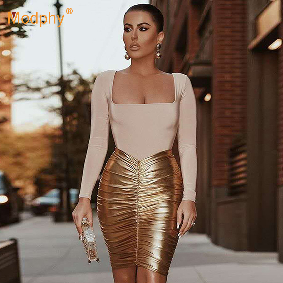 2019 Winter New Pleated Gold Pu Skirt Set Women's Long Sleeve T-Shirt And Skirt 2 Two-Piece Celebrity Christmas Party Set