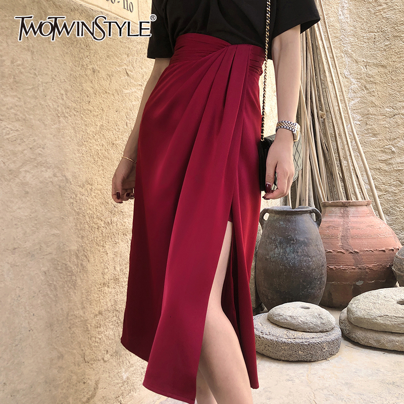 TWOTWINSTYLE Asymmetrical Side Split Women's Skirt High Waist Irregular Ruched Vintage Skirt For Female Fashion 2020 Clothes New
