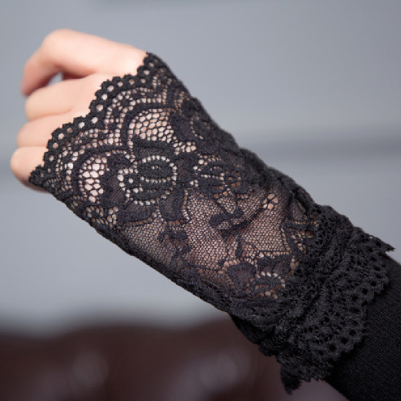 Winter Arm Warmer For Women Hand Warmer Fingerless Long Gloves Lace Arm Sleeve Hot Fashion Sexy Ladies Black Sleeve Holder Cover