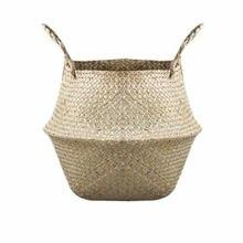 Cesta de armazenamento dobrável lavanderia palha retalhos vime rattan barriga jardim vaso vaso vaso plantador cesta artesanal 1pcs
