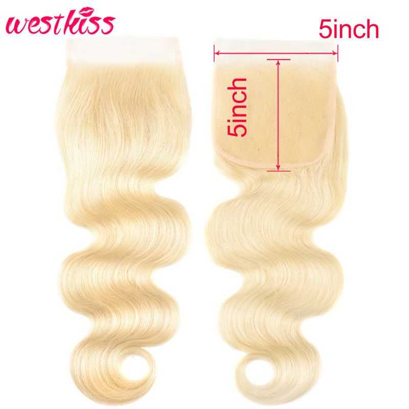 West Kiss Hair <font><b>613</b></font> Blonde Body Wave <font><b>5x5</b></font> <font><b>Lace</b></font> <font><b>Closure</b></font> Free Part Brazilian Human Hair <font><b>Lace</b></font> <font><b>Closure</b></font> Swiss <font><b>Lace</b></font> 8''-20'' Remy Hair image