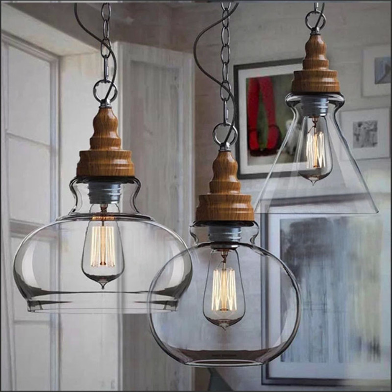 rustic pendant lights wood coffee shop dining table hanging light indoor home glass ball farmhouse kitchen decor lighting