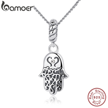 BAMOER New 925 Sterling Silver Lucky Hamsa Pendant Necklace Women Fine Jewelry Birthday Gift CC031 - discount item  45% OFF Fine Jewelry