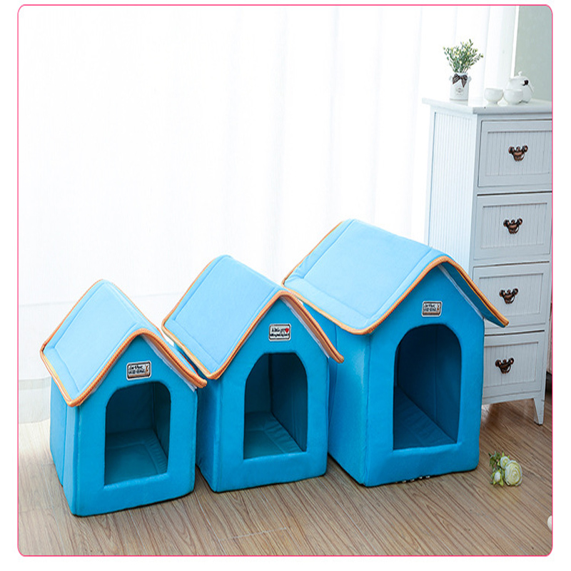 Pet House Foldable Bed With Mat Soft Winter Leopard Dog Puppy Sofa Cushion House Kennel Nest Dog Cat Bed For Small Medium Dogs 4
