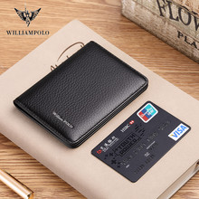 WilliamPolo 100% Cow Leather Wallet Men Fashion Bifold Card