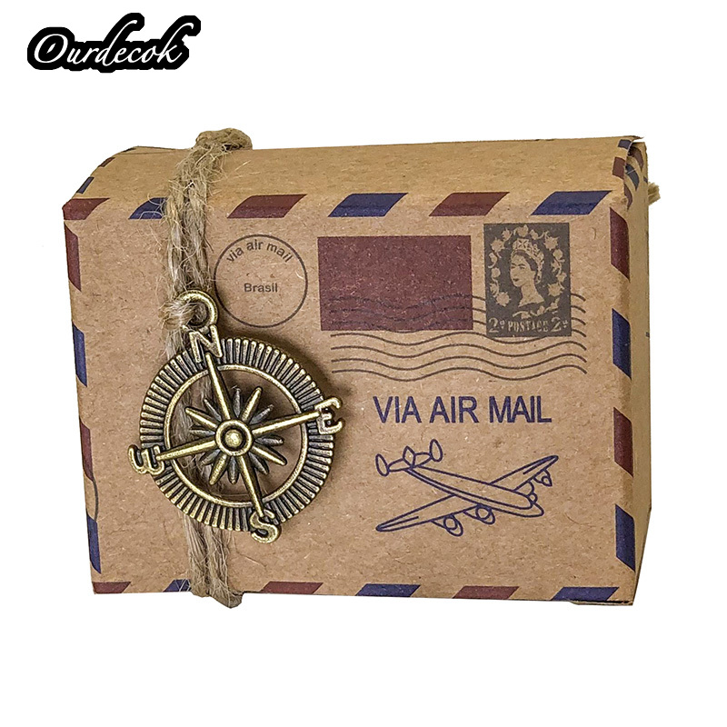 Image 3 - 100pcs Vintage Favors Kraft Paper Candy Box Travel Theme Airplane Air Mail Gift Packaging Box Wedding Souvenirs scatole regalo-in Gift Bags & Wrapping Supplies from Home & Garden