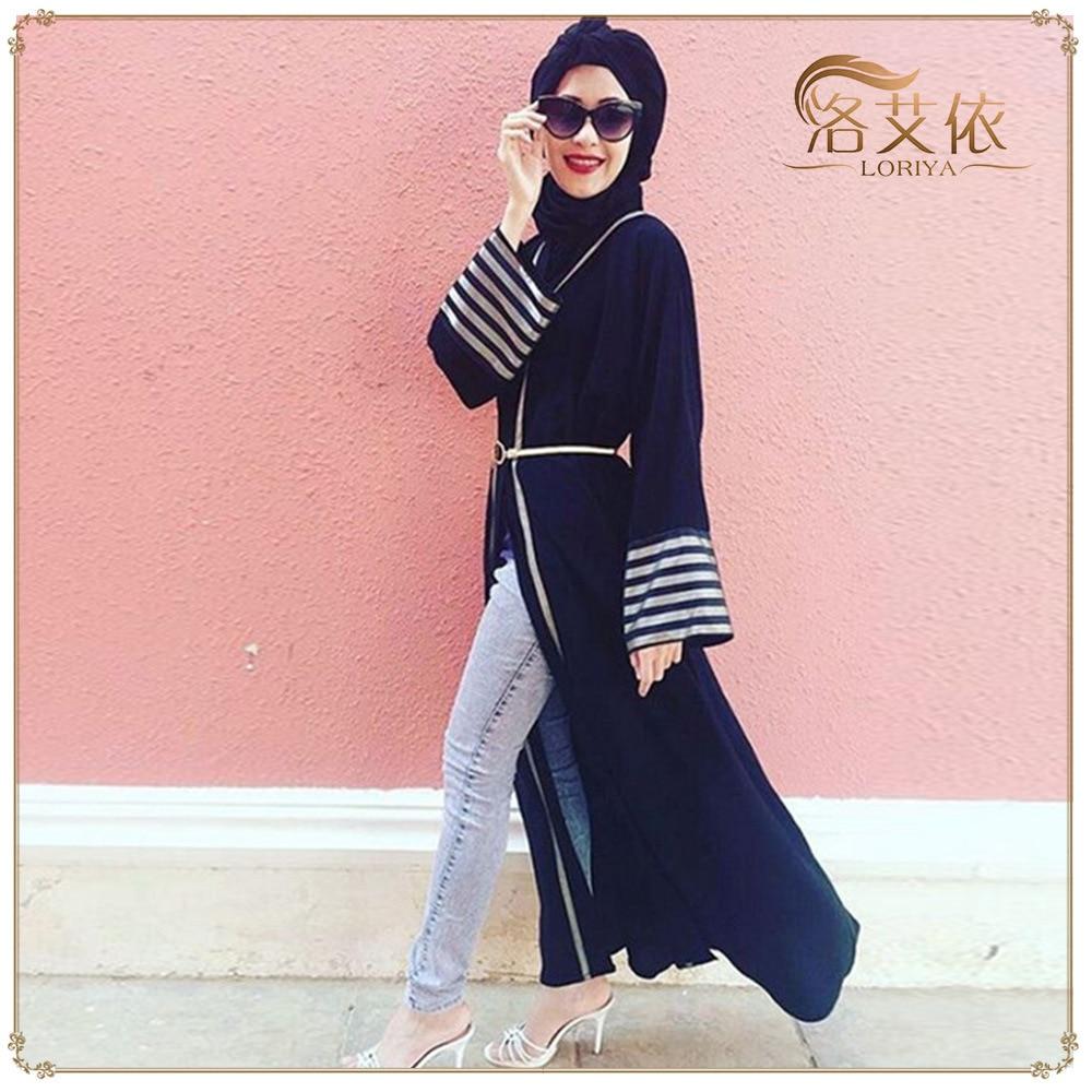 WEPBEL Cardigan Dress Open Dress Women Fashion Muslim Abaya Full Sleeve V Neck High Waist Ramadan Islamic