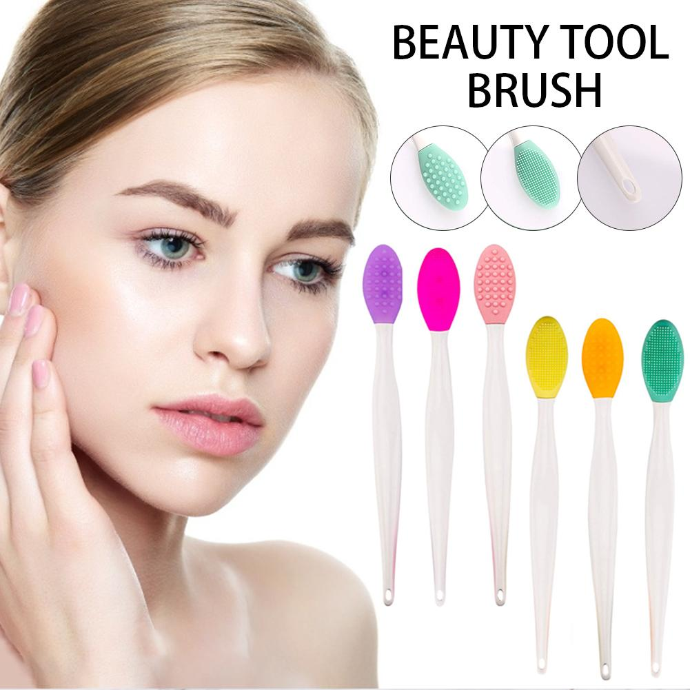 6pcs 2-1 Double-Sided Silicone Exfoliating Lip Brush Tool Silicone Wash Face Exfoliating Blackhead Facial Cleansing Brush Tool