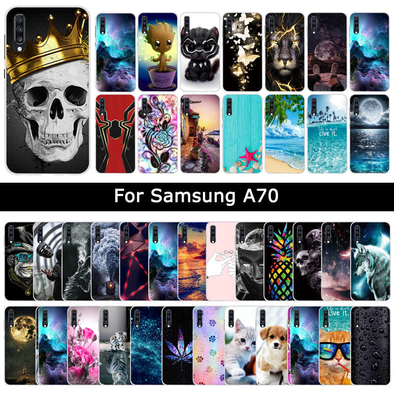 Soft TPU Silicone Case For <font><b>Samsung</b></font> Galaxy <font><b>A70</b></font> A 70 Cartoon Painting Cover Luxury Protective Cases Phone Shells Fundas <font><b>Coque</b></font> Capa image