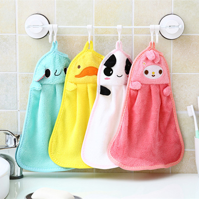 Hand Towel Baby Bath Towels Soft Plush Cartoon Animal Wipe Hanging Bathing Towel For Children Or Kitchen Used  30%off