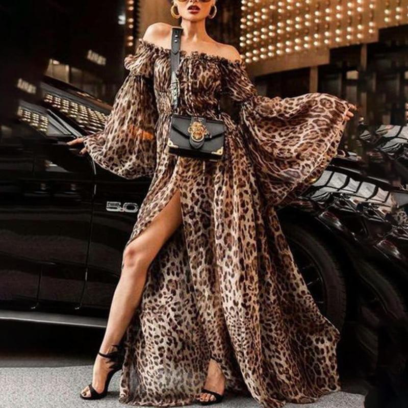BacklakeGirls Sexy Off Shoulder Trumpet Long Sleeve Leopard Print High Split   Evening     Dress   Long Prom   Dress   Vestido Largo Fiesta