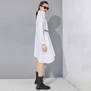 Image 5 - [EAM] Women Black Asymmetrical Buckle Split Blouse New Lapel Long Sleeve Loose Fit Shirt Fashion Tide Spring Autumn 2020 1N485