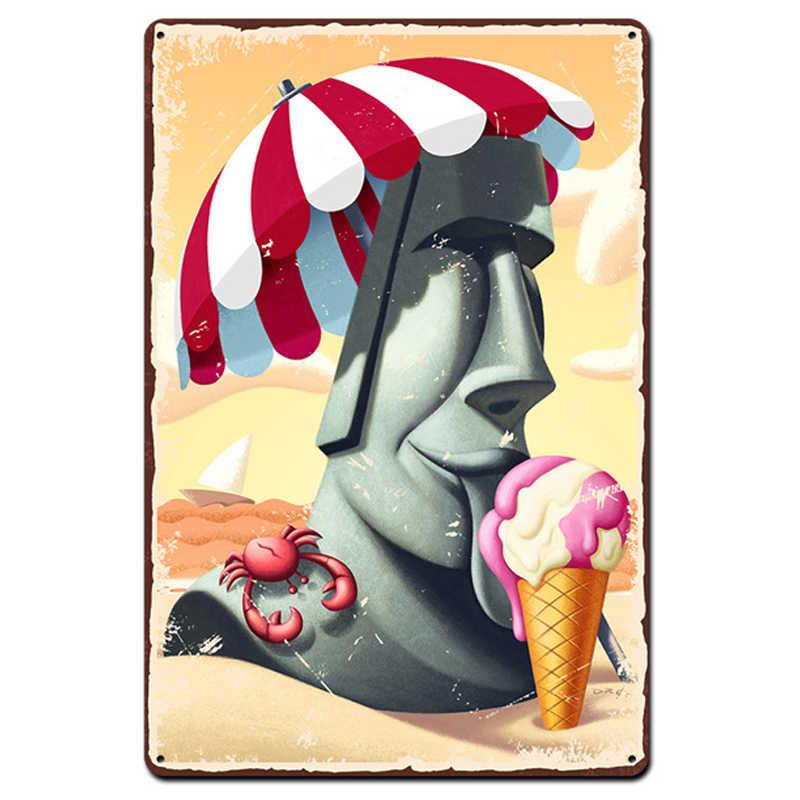 المعادن اللوحة معدن القصدير تسجيل Vintage لوحة الرجعية الآيس كريم المنزل بار القهوة حانة مطعم اللوحة الزخرفية الفن بلدان جزر المحيط الهادئ الهدايا