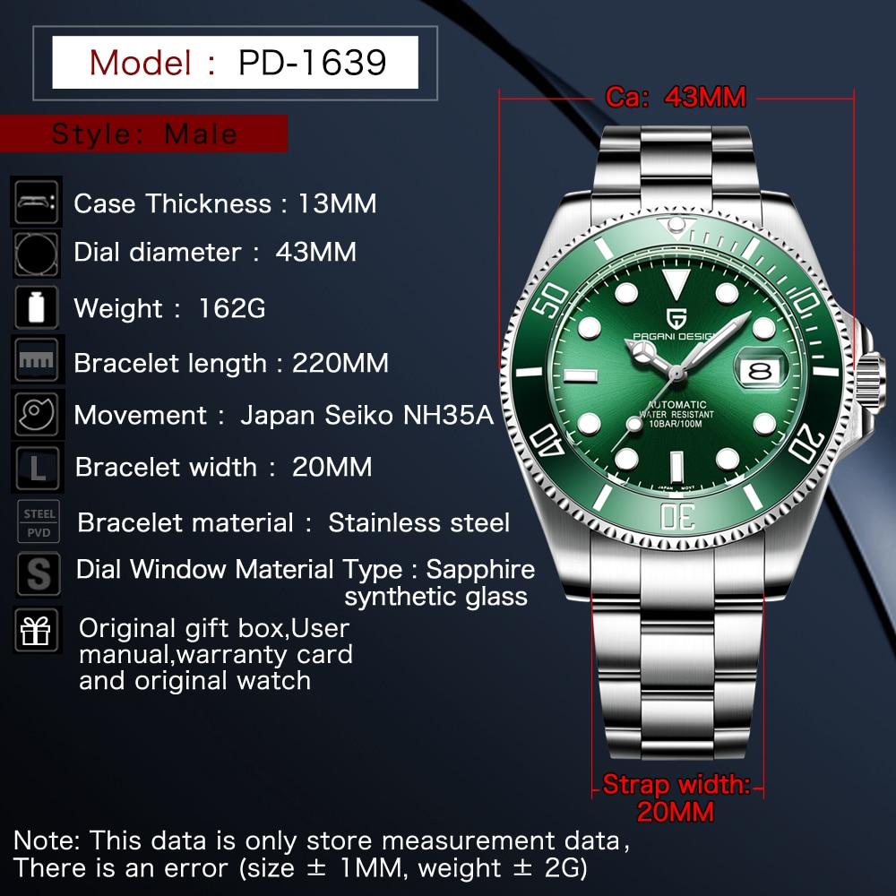 PAGANI Design Marke Luxus Männer Uhren Automatische Schwarz Uhr Männer Edelstahl Wasserdicht Business Sport Mechanische Armbanduhr - 2