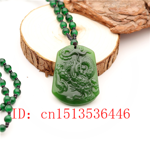 Carved Dragon Jade Pendant Natural Chinese Green Beads Necklace Charm Jadeite Jewellery Fashion Lucky Amulet Gifts For Men M01