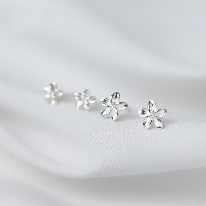 Trusta 1Pair 100% Real 925 Sterling Silver Jewelry Women Fashion Cute Tiny Flower Stud Earrings Gift For Girls Teens Lady DS197 1