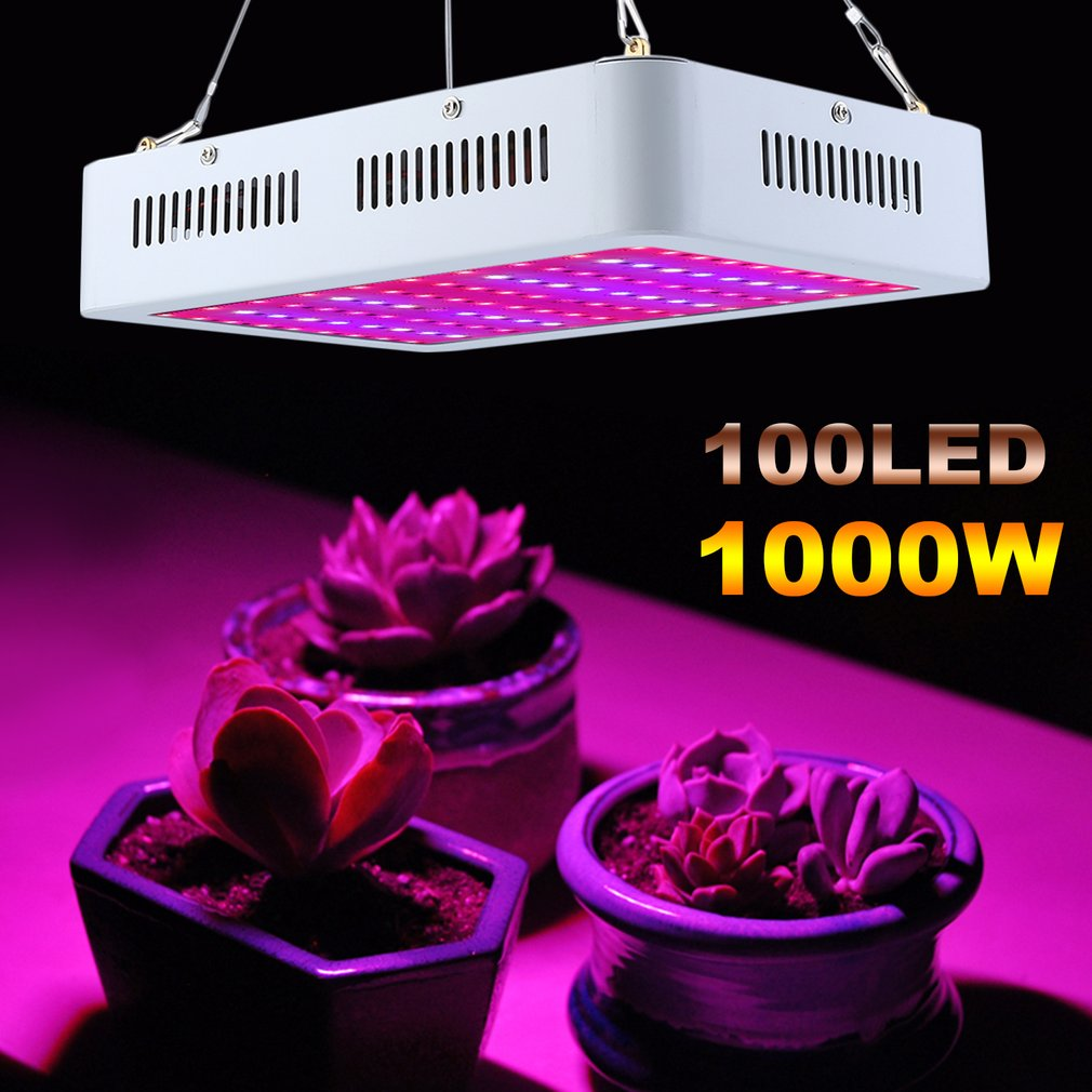 100 LEDs Plant Grow Light Greenhouse Growing Light Double Chip Grow Lamp 1000W Full Spectrum Fluorescent Lamp EU Plug