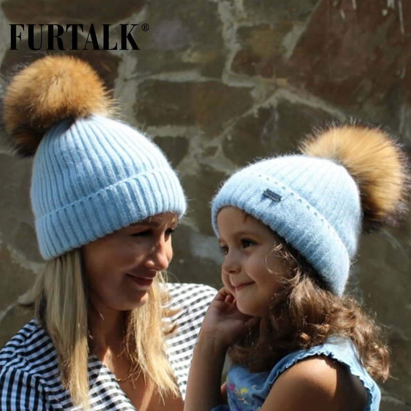 FURTALK Winter Hat For Women Kids Angora Rabbit Fur Beanie Hat Wool Fur Pom Pom Hat Female Warm Knit Winter Skullies Beanies