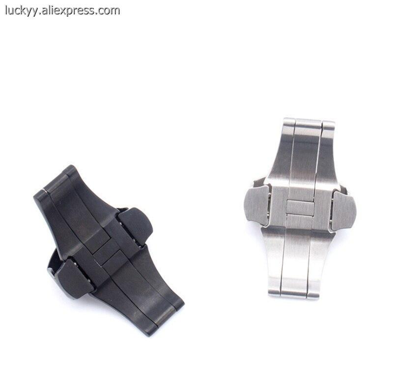 Роскошный бренд пресс-Пряжка 20 22 мм Бабочка застежка 316L нержавеющая сталь для мужских часов PA113
