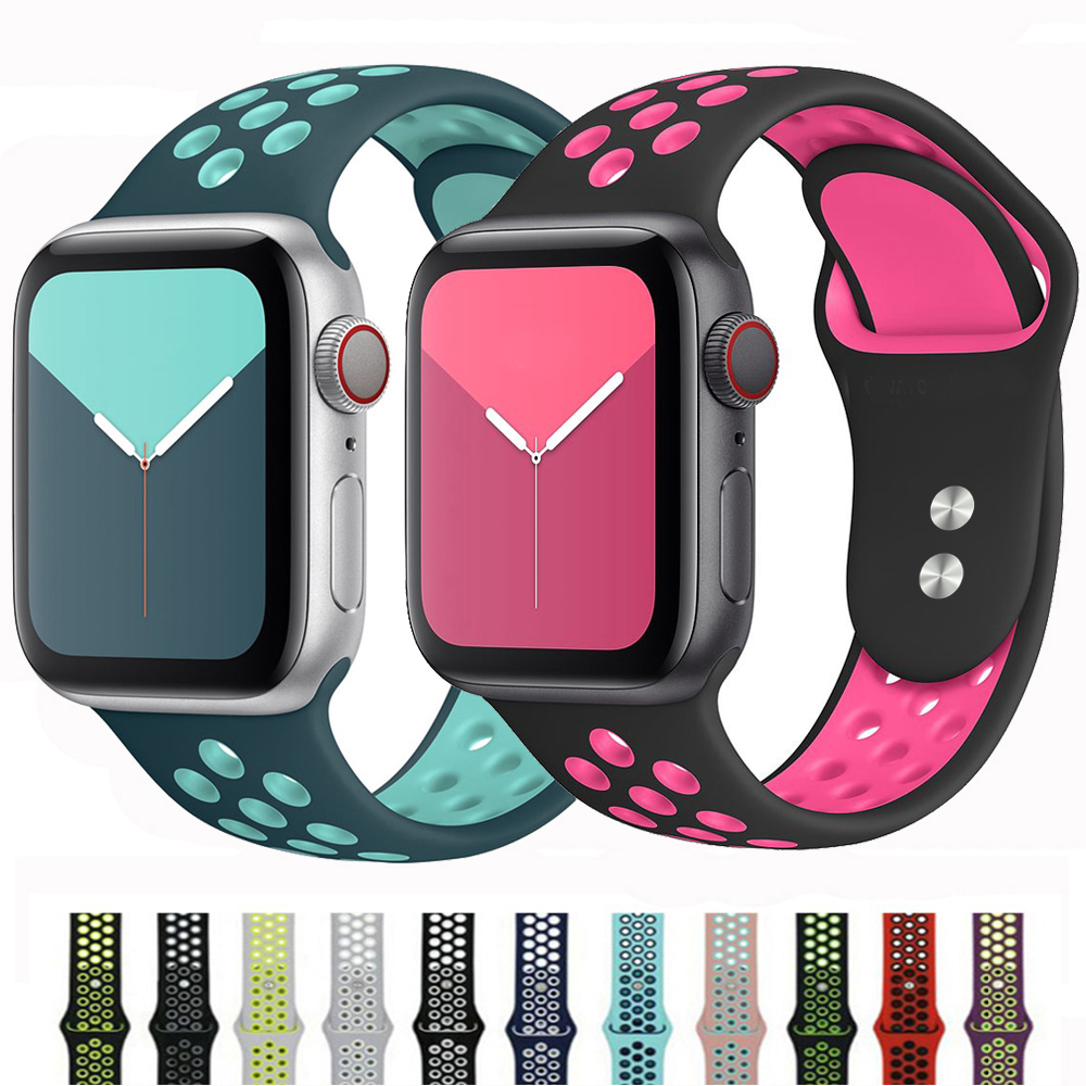 Bands For Apple Watch Strap Series 5 4 3 Sport Silicone Iwatch Band 44mm 40mm 42mm 38mm Bracelet Pulseira