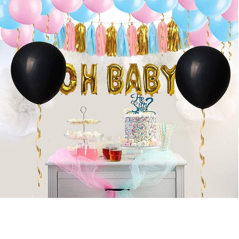 36inch Black Boy Or Girl Surprise Balloon Gender Reveal Party Latex Balloons Decorations Blue Pink Confetti Baby Shower Supplies