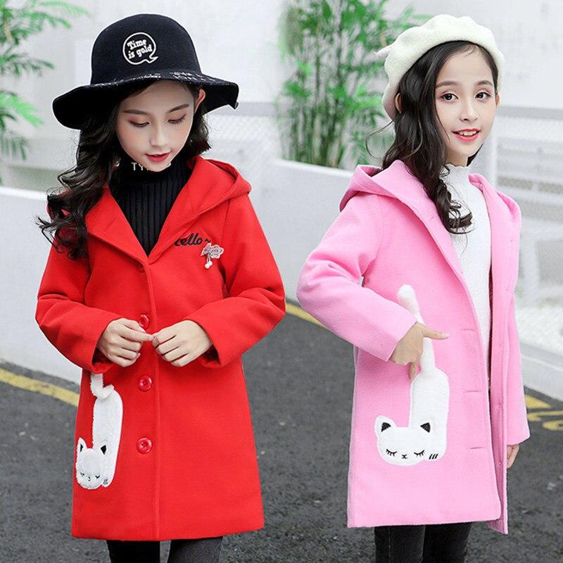 Autumn Winter Long Kids Wool Coat For Girls Child Cat Cartoon Outfit Teenager Girl Wool Blends Outerwear Kids Cartoon Clothes
