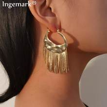 Orecchini pendenti con nappa in metallo Punk per donna accessori Brincos Boho Hip Hop Trendy Simple Link orecchini pendenti gioielli di moda