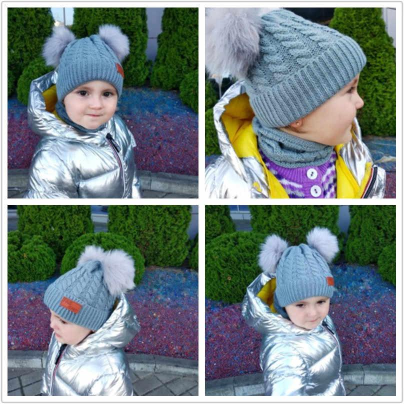 Модная теплая зимняя шапка с меховым помпоном и шарф, комплекты для детей, для девочек, комплект из 2 предметов, вязаная шапка унисекс, шарф, теплые аксессуары