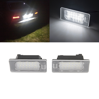 For BMW E39 E60 E60N E61 E90 E91 E90N E92 E93 E46 CSL E82 White Canbus SMD Led License Plate Lights Auto Tail Lamps image