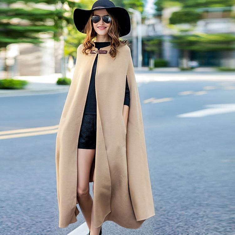 women's winter overcoats beige cloak coat Double-sided wool cashmere outwear 2019 autumn plus size ladies fashion long free ship