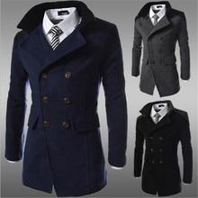 fashion slim woolen coats men steampunk trench coat men casual stand c