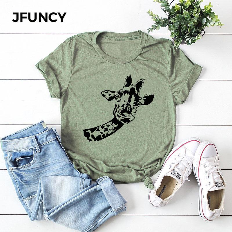 JFUNCY Funny Giraffe Print Plus Size Women Cotton T Shirt  2020 Oversized Short Sleeve Summer T-Shirt Tops Female Casual Tshirt