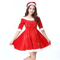 High quality Adult Christmas Women's Dress Suit Plus Size Flocking Santa Claus Clothes Women Party Dress