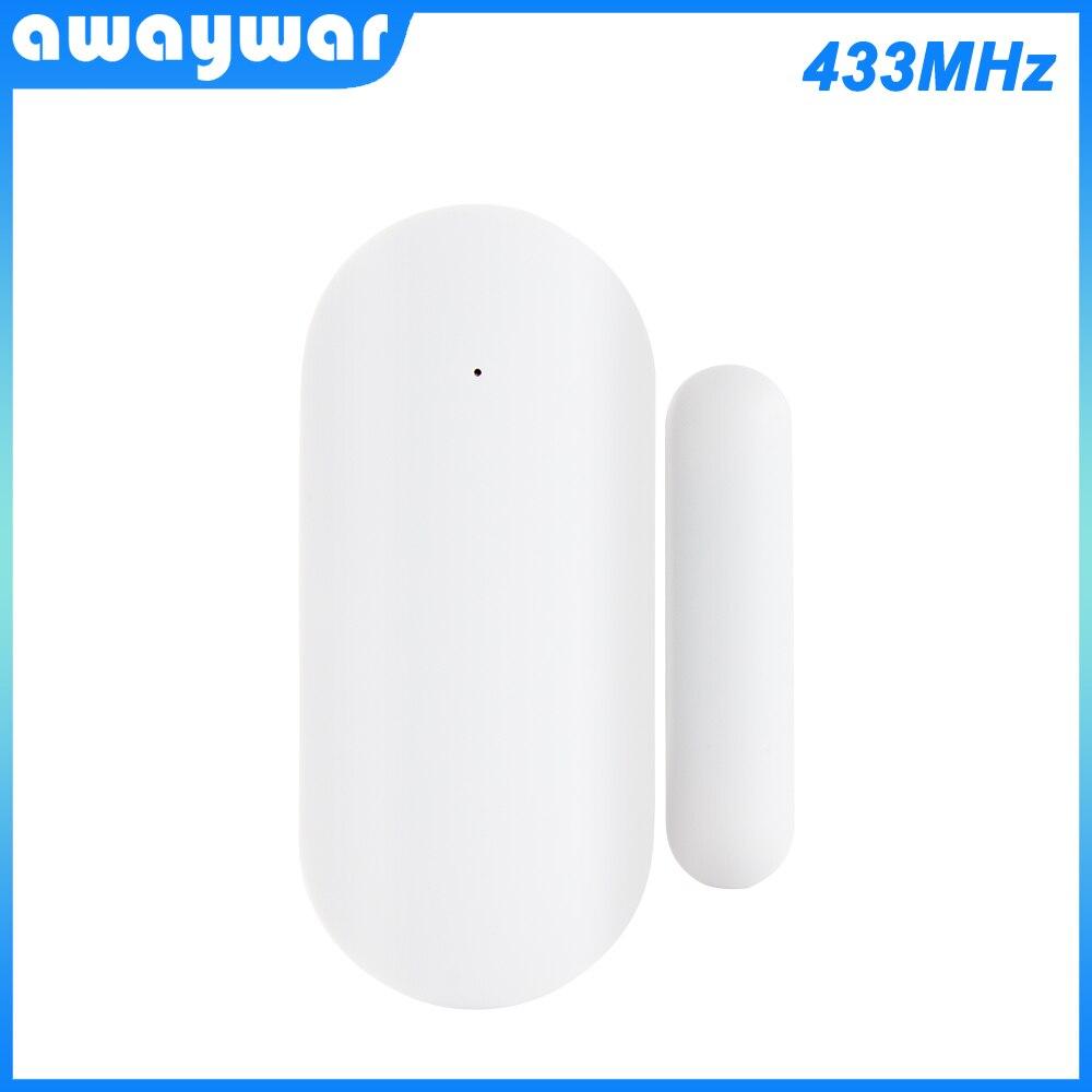 Awaywar 433MHz Door Window Alarm Sensor Wireless Magnetic Switch Contact Detector Signaling For   Intruder Security Alarm System
