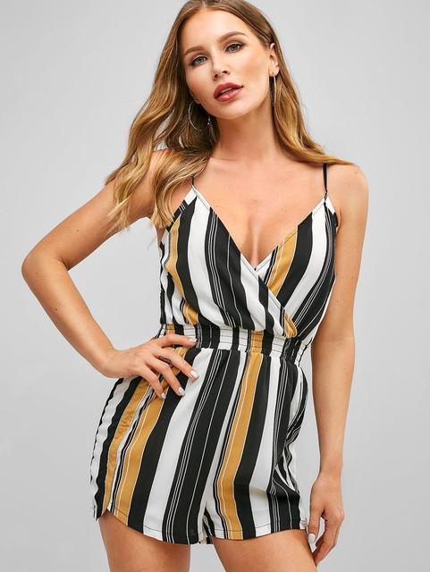 ZAFUL Women Bodysuits Stripes Cami Smocked Waist Romper Sexy Streetwear Vintage Playsuits Women Clothes 2019 Summer 4