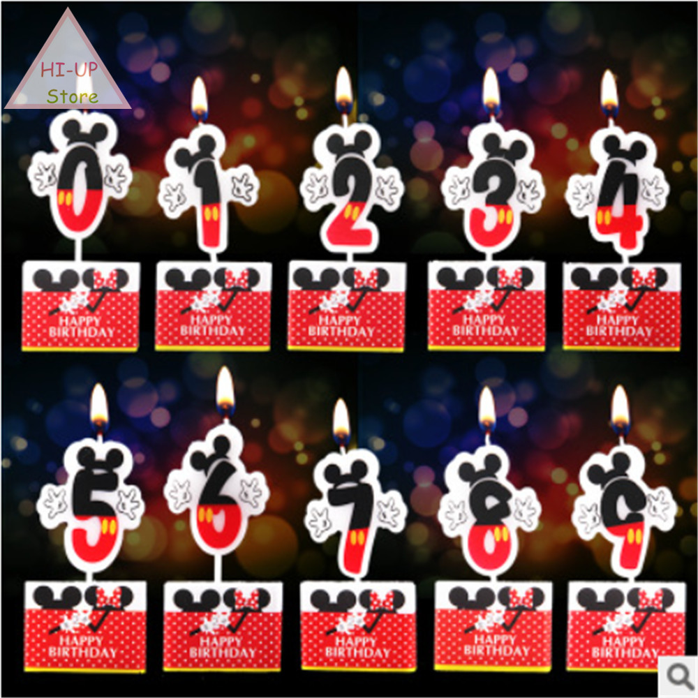 Birthday Cake Candle Mickey Mouse Party Supplies Candle <font><b>0</b></font> 1 <font><b>2</b></font> <font><b>3</b></font> 4 <font><b>5</b></font> 6 7 8 9 Anniversary Cake Numbers Age Candle Party Decoration image