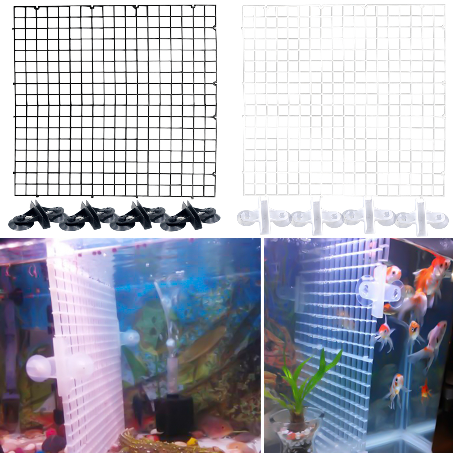 Aquarium Fish Tank Plastic Separation Divider Board Fry Segregation Breeder Net With 4pcs Suction Cups 30 X 30cm